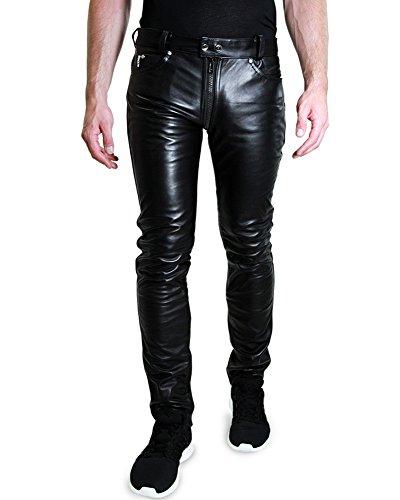 Bockle® 1991 Gay-Zip Leder Jeans Tube Röhre Skinny Slim Fit Herren Lederhose mit durchgehendem Reißverschluss Zip, Size: 30W / 32L
