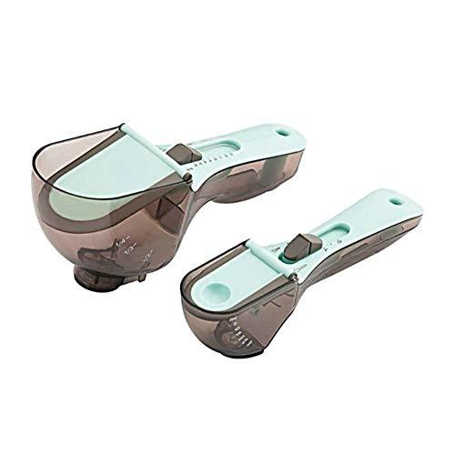 Kuizhiren1 Mini balanza digital, 2 cucharas medidoras ajustables de plástico para leche en polvo y condimentos de cocina