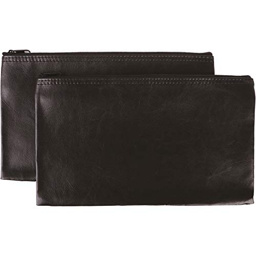 Security Bank DepositUtility Zipper Coin Bags 11 X 6 Inches - Leather Zipper Pocket Money Holder Safe for Cash Coins Legal Documents Receipts - Black - 2 Pack