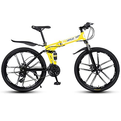 WGYDREAM Bicicleta Montaña MTB Bici de montaña Plegable de 26' Full Speed 21/24/27 Suspensión de Doble Freno de Disco de Bicicletas MTB Ligera Bicicleta de Montaña