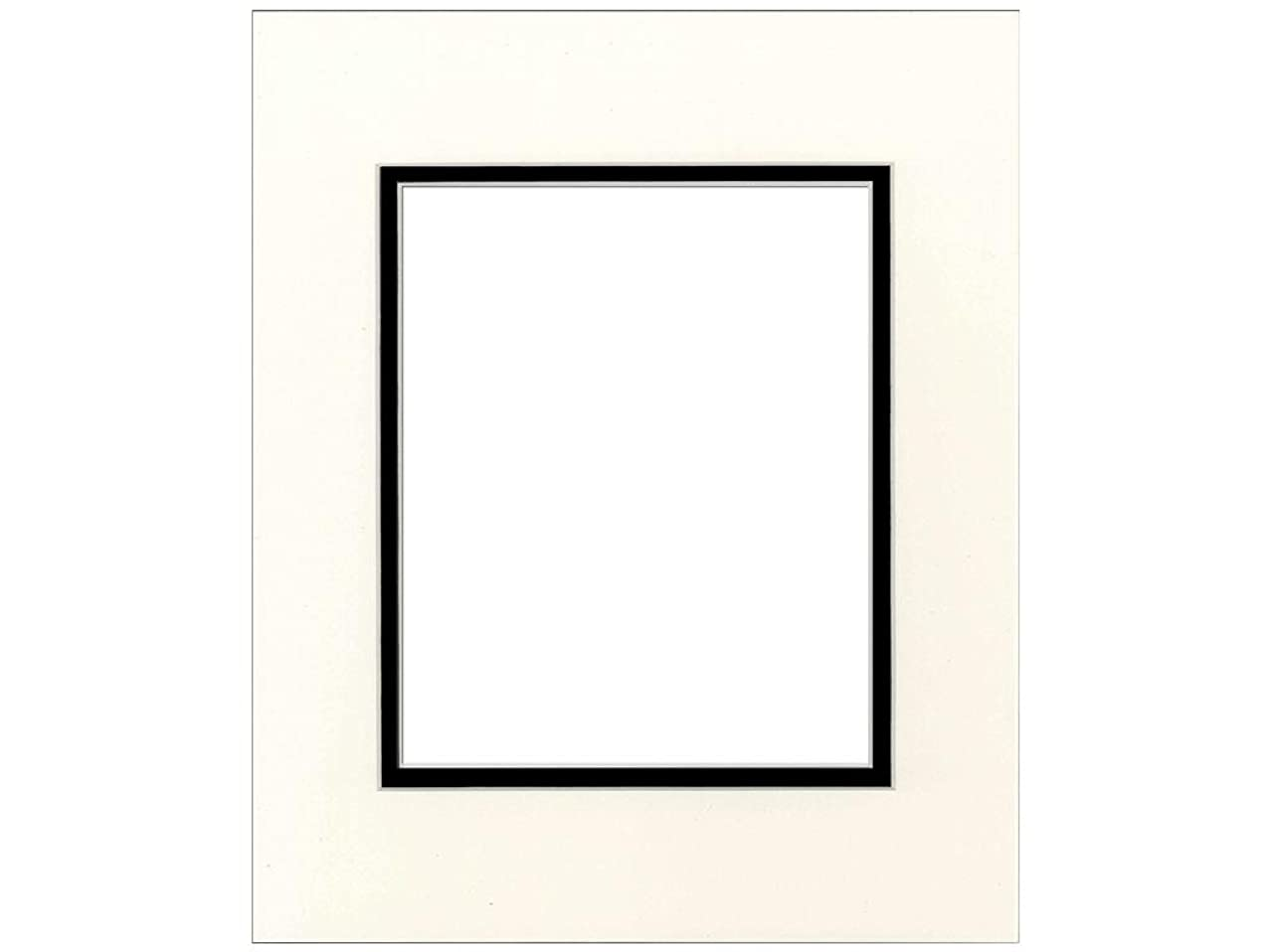 PA Framing, Double Mat 14 x 18 inches - Cream Core Antique White and Black Inner