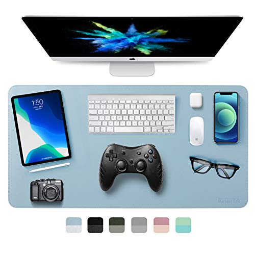 Dual-Sided Desk Pad Office Desk Mat, EMINTA Ultra Thin Waterproof PU Leather Mouse Pad Desk Blotter Protector, Desk Writing Mat for Office/Home (Light Blue/Silver, 31.5 x 15.7)