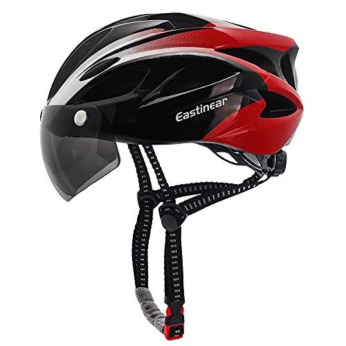 EASTINEAR Casco Bicicleta para Adultos con Gafas Hombre Mujer Casco Bicicleta con Luz de Seguridad LED Casco Ciclismo de Montaña y Carretera Tamaño Ajustable M/L 57-61cm (Negro Rojo)