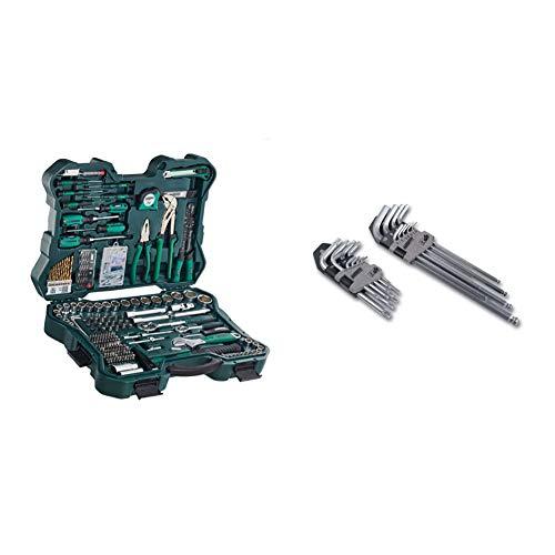 Brueder Mannesmann Werkzeuge M29088 Set chiavi a tubo e attrezzi, 303 pz. & M18170 Set chiavi esagonali, TX e a testina rotante, 19 pezzi