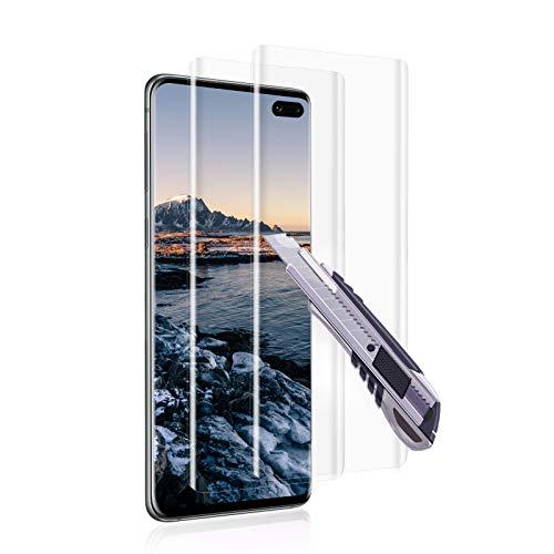 [2 piezas] Vidrio templado para Samsung Galaxy S10 Plus, Protector de pantalla de película de vidrio [Curvado en 3D], Antiarañazos, HD, Dureza 9H, Sin burbujas, Protector de pantalla - Transparente