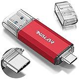 Thkailar 128GB タイプC USBフラッシュドライブ(Type - C usb3.1 gen1 + usb3.0)高速デュアルフラッシュディスクレッド (128GB, Red)