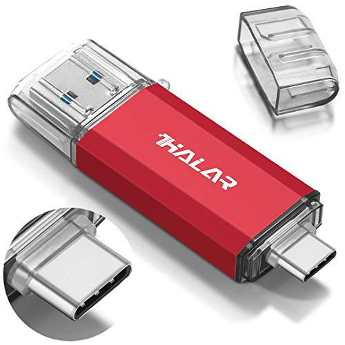THKAILAR USB C Flash Drive 128GB-Thunderbolt Flash Drive with Type C 3.1 and Type A 3.0 Port Compatiable with Android Phone PC Mac Pro-Transfer Data(Red)