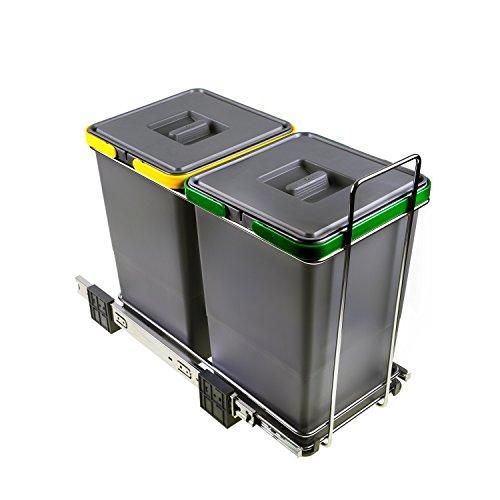 ELLETIPI ecofil PF0134A2Papelera Reciclaje extraíble para Base, plástico y Metal, Gris, 23x 45x 36cm