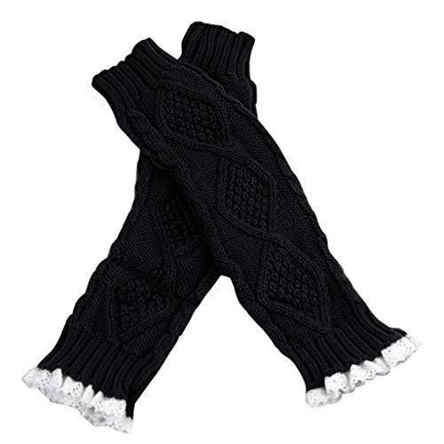 ZRXNDLS dames warme elegante herfst winter gebreide toets uithollen blad top warm houden vingerloze handschoenen