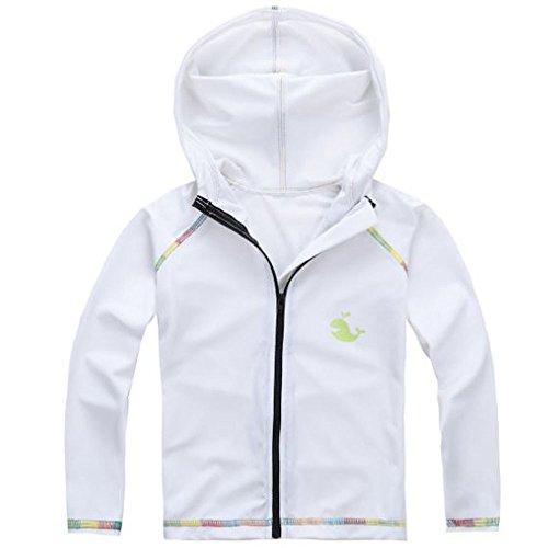 (アリス)Alice ラッシュガード 男の子 UVカット 子供 UPF50 90-130サイズ 長袖 フードあり 前開き (110, 白)