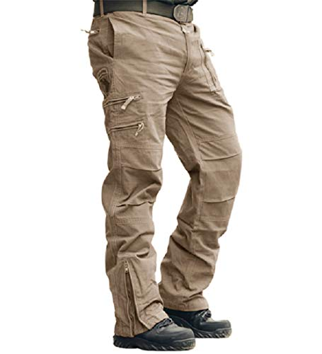 MAGCOMSEN Herren Cargo-Hosen Arbeitskleidung Draussen Abenteuer Militär Hose Khaki 34