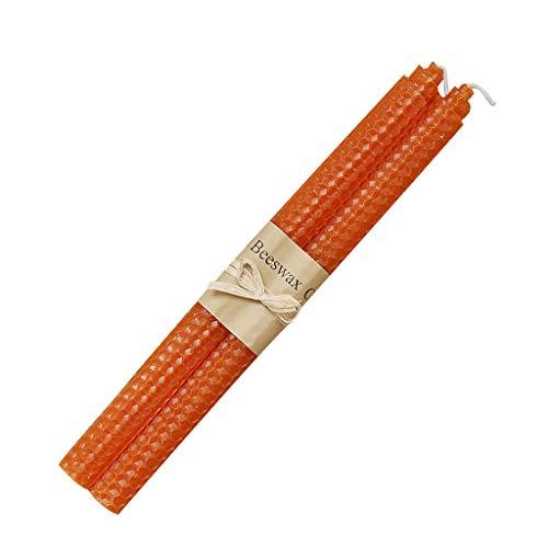 RK-HYTQWR 100% Cera d'api Candele rotolate a Mano Candele bistrot per Cena per Feste in casa, Candela a Nido d'Ape Arancione Caramella, Arancione