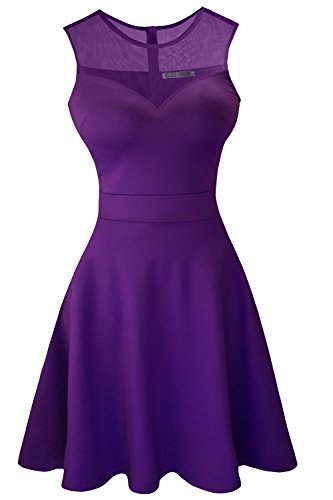 Sylvestidoso Women's A-Line Sleeveless Pleated Little Purple Cocktail Party Dress (XS, Purple)