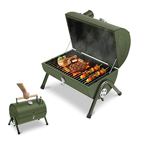 ACWARM HOME Portable Charcoal Grill, Small BBQ Smoker Grill, Tabletop Barbecue Charcoal Grill for...