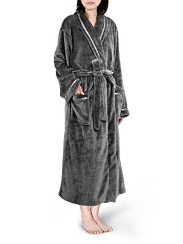 Women Fleece Robe with Satin Trim|Luxurious Soft Plush Bathrobe,Grey,S/M