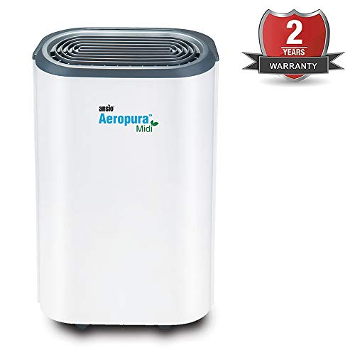 ANSIO Dehumidifier 12 Ltr / Day ,Continuous Drainage, Defrosting, Humidistat, Child-lock & Wheels, Ideal for Home, Office, Kitchen, Basement/Garage 2-Yr Warranty