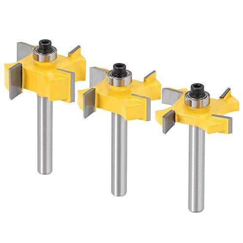 """Yakamoz 3Pcs 1/4 Inch Shank 4-Wings Rabbet Router Bit Set Slot Cutter with Bearings 1/4"""", 3/8"""", 1/2"""" Cutting Width Rabbeting Bits Wood Groove Milling Woodworking Tool"""