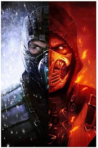 Pintura de arte en lienzo 30x50cm sin marco Scorpion Vs Sub-Zero Art Poster Pintura Mortal Kombat Pinturas Arte de la lona Impresiones Arte de la pared para la sala de estar Bedroo Decor