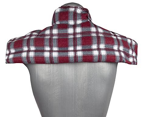 Cojín de lino para hombros y cuello con cuello, para calentar en el horno o en el microondas (franela, a cuadros rojos, semillas de lino)