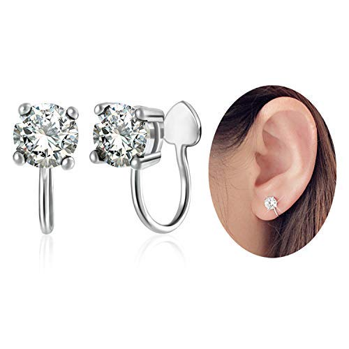 28b7d8d0a OwMell Sterling Silver s925 Ear Cuff Cubic Rhinestone Earring No Piercing A  Pair