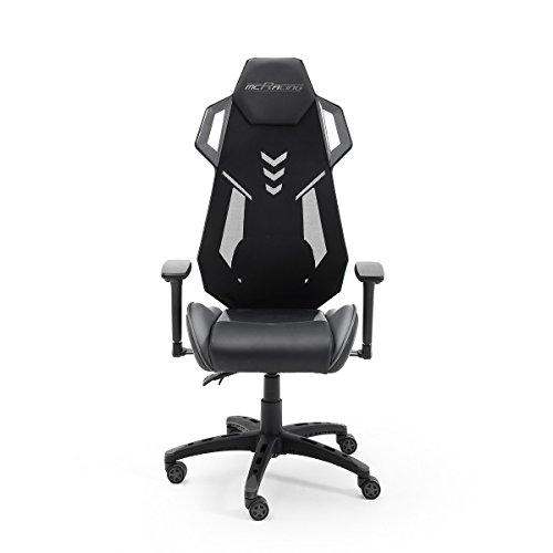 MC Racing Gamingstuhl Schwarz Grau Gaming -Schreibtischstuhl höhenverstellbarer Bürostuhl bis 120 Kg belastbar