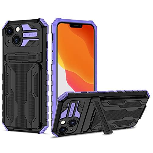 SCRENDY Funda para Xiaomi Redmi Note 9T, Carcasa Case con Función de Soporte, Funda Protectora de Military Grade con Soporte Ranuras para Tarjetas, Púrpura