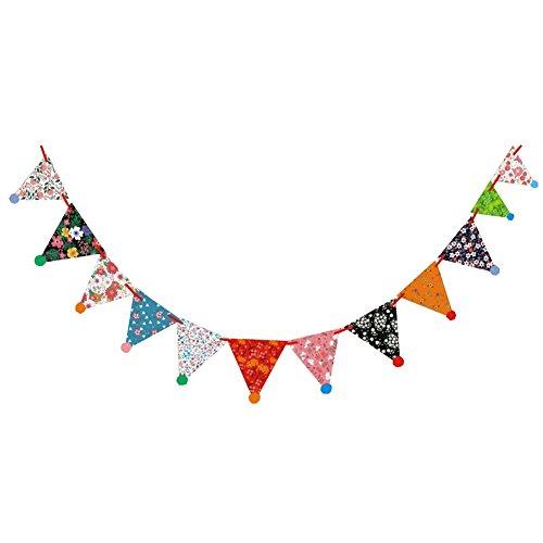 Demarkt 1 Pcs Drapeau de Papier de Couleur Drapeau fête d'anniversaire fête Fanion décoration d'intérieur et extérieure Fournitures banderoles (Style D) 300cm