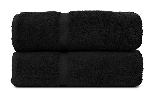 BC BARE COTTON Luxury Hotel & Spa Towel Turkish Bath Sheets Dobby Border (Black, Bath Towels - Set of 2)