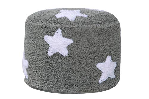 Happy Decor Kids -Puff Air Stars 100% Algodón Natural -Gris, Blanco- 24x35x35
