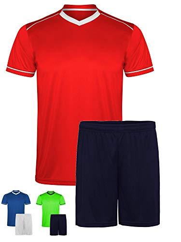 GO HEAVY Herren Fussball Funktions Sport Trikot Set aus V-Neck T-Shirt + Shorts | Fitness Lauf Sportbekleidung | Rot/Blau L