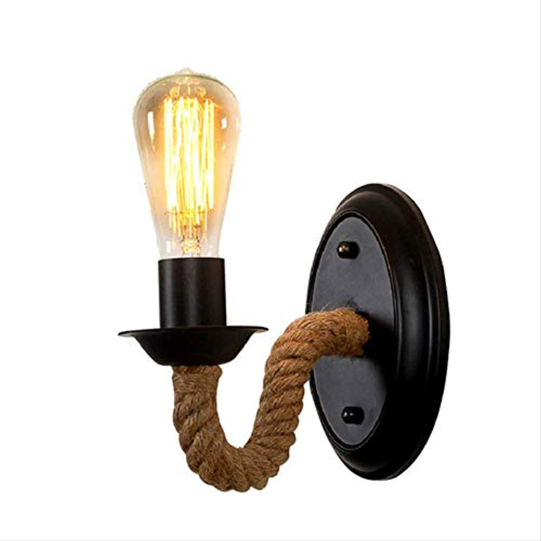 HDXDDYL LichtlightAmerican Wandleuchte Nachttischlampe Retro Wandleuchte Treppengang Land Hanfseil Eisenkunst Lampen und Laternen