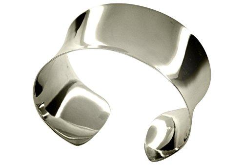 SILBERMOOS Klassischer Damen Armreif Armspange offen breit konkav glänzend poliert massiv 925 Sterling Silber