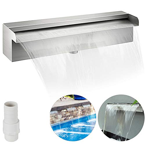 Wall Mounted Fountain Pond Spillway Water Garden Patio Lawn Gardening Pond Décor Stainless Steel Waterfall Strip Power Cord Swiming Pool Indoor Out Door Quick Easy Install Setup 11.8 Inch Durable