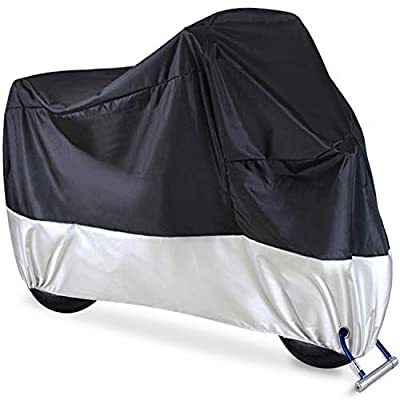 "Motorcycle Cover, Ohuhu All Season Waterproof Snowproof Motorbike Covers with Lock Holes, Fits up to 108"" Motors Bikes Scooters for Honda, Yamaha, Suzuki, Harley, Kawasaki(XX Large), Black-Silver"