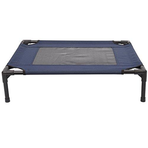 PawHut Dog Cat Puppy Pet Elevated Raised Cot Bed Portable Camping Basket – Blue (Medium)