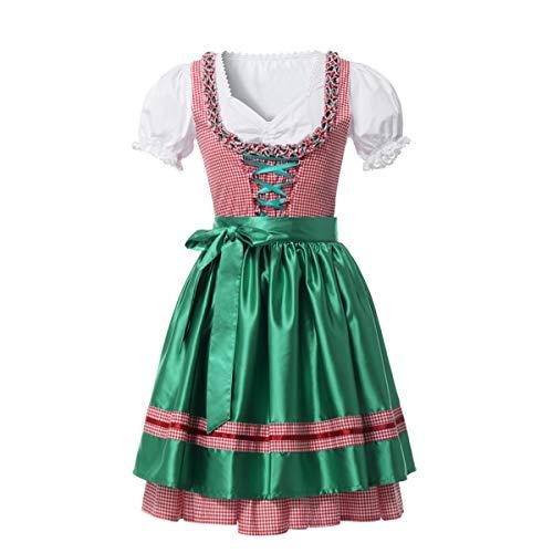 GRACEART Trachten Damen Dirndl Kojooin Midi Kostüm Trachtenkleid für Oktoberfest Karneval Dirndlkleid (XL, Weiß-Rosa(grüne Schürze))