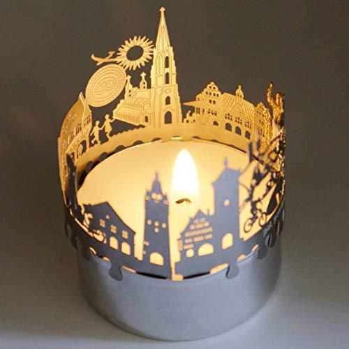 13gramm Freiburg-Skyline Windlicht Schattenspiel Souvenir, 3D Edelstahl Aufsatz für Kerze inkl. Karte