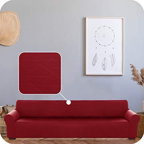 UMI Amazon Brand Funda para Sofa Decorativa Suave de Salon con Patrón de Ola 4 Plazas Rojo Oscuro