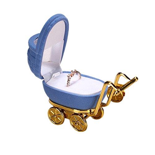Chytaii Caja de Joyería Joyero Multifuncional Caja de Almacenamiento para Anillos/Pendientes/Collar Caja de Almacenamiento Caja Joyero Forma de Carro de Bebé Azul