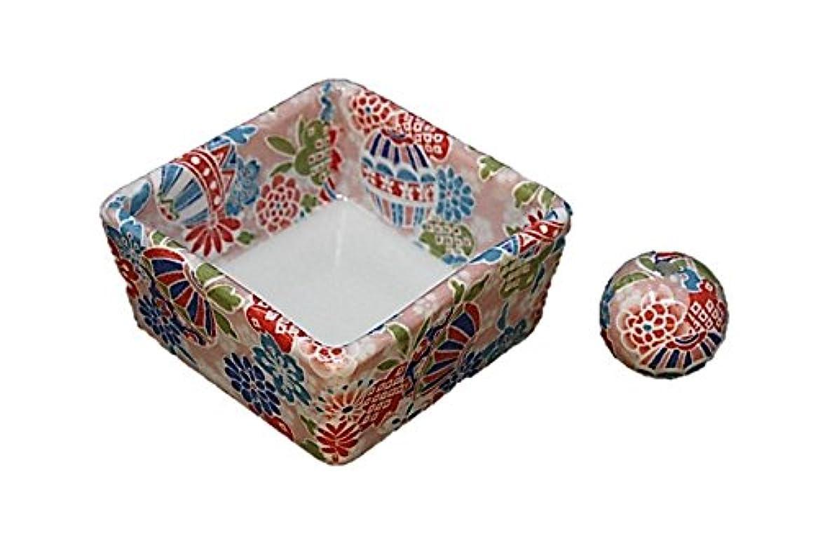 に渡って首尾一貫したスカート和モダン 京雅桃 お香立て 陶器 角鉢 製造直売品
