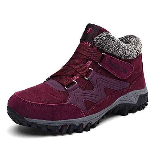 Ulogu Damen Warm Gefüttert Outdoor-Winter Wanderstiefel, Gr.-40 EU, Rot
