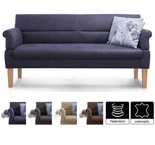 Cavadore 3-Sitzer Sofa Kira mit Federkern / Sitzbank für Küche, Esszimmer / Inkl. Armteilfunktion / 189 x 94 x 81 / Kunstleder dunkelblau