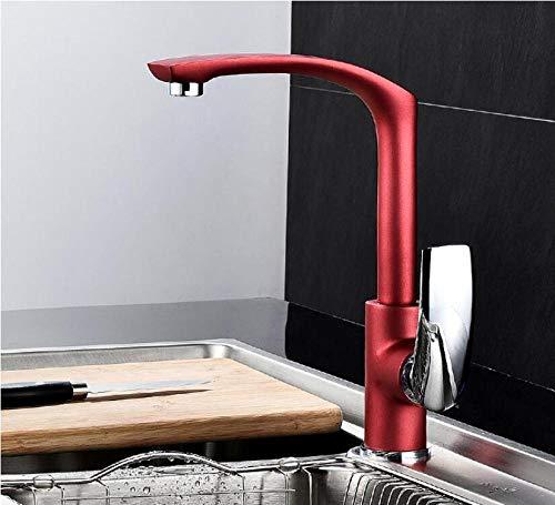 Grifo de cocina frío y caliente de estilo europeo cromado de cobre completo y verde/blanco/negro/naranja/rojo grifo de cocina grifo giratorio rojo y cromado