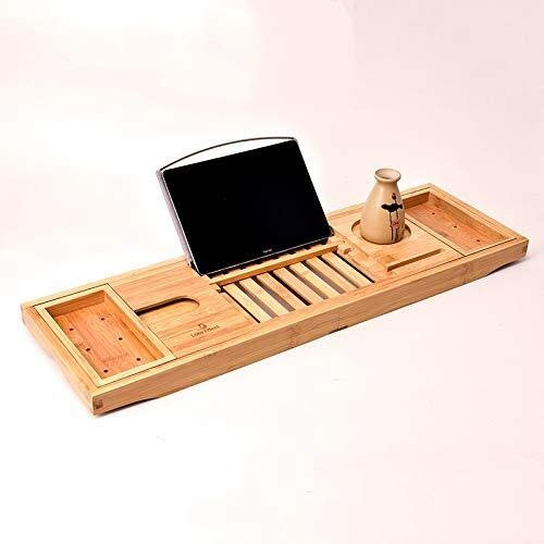 LYJ Cuarto de baño de madera de bambú Organizador bandeja de la cama, extensible Bandeja Caddie bañera, con el sostenedor del vino, Copa de Colocación, Jabonera, Espacio libro y ranura de teléfono for