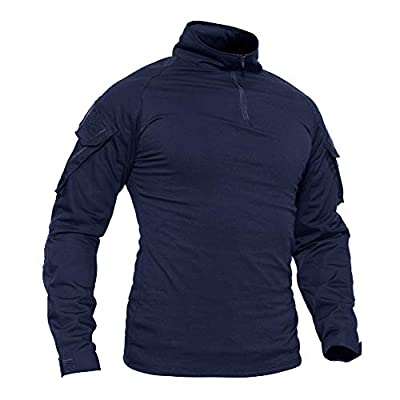 TACVASEN Men's Military Rapid Military Sleeve Slim Fit Long Sleeve Hiking T-Shirt Navy,US M/Tag XL