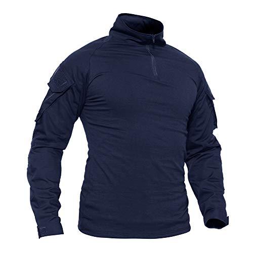 TACVASEN Sports Shirt Herren Slim Fit Hemd Langarm Tshirt Winter Warm Shirts Ski Schnee T-Shirt Camping Wandern Jagd T Shirt Casual Freizeit Ttshirt Navy Blau Navy Blue