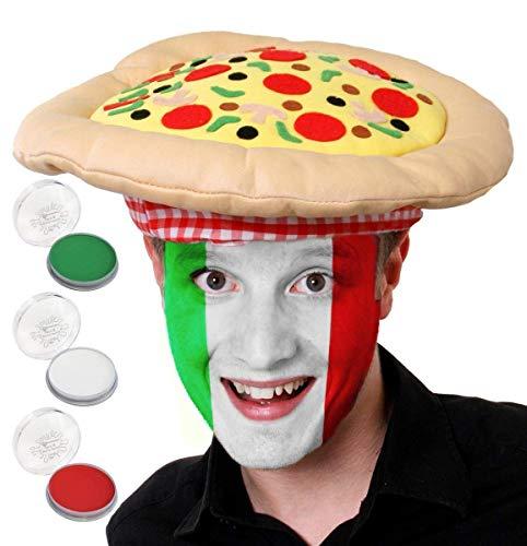 ITALY FOOTBALL FANCY DRESS SET - ITALIAN TEAM SUPPORTERS WIG WITH FACEPAINT - ITALIAN PIZZA HAT WITH GREEN FACEPAINT, WHITE FACEPAINT AND RED FACEPAINT