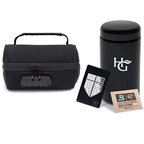 Herb Guard - 1 Oz Stash Jar with Locking Protective Case 100% Smell Proof (500 ml) - Smell Proof Container Comes with Humidity Pack, HG Grinding Card and Resealable Travel Bag