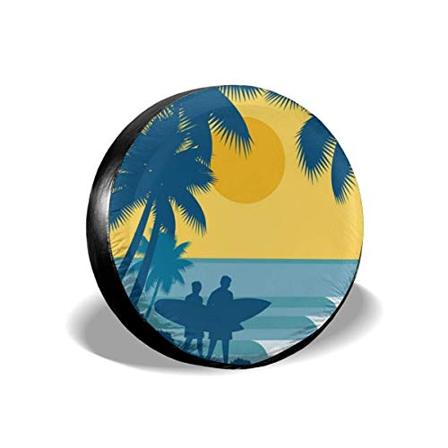 AEMAPE Hawaii Surfing - Cubierta de neumático de Repuesto, Ajuste Universal para Jeep, Remolque, RV, SUV, camión y Muchos vehículos, diámetro de 16 Pulgadas