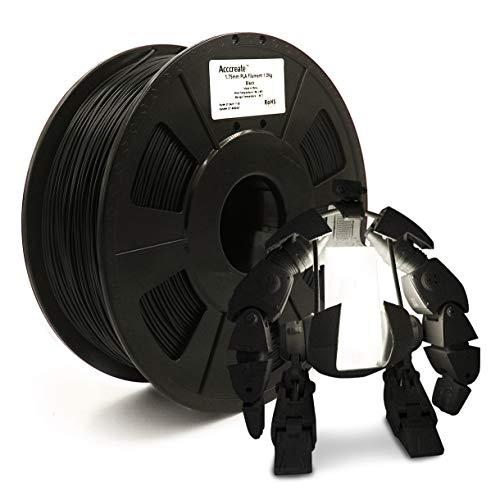 ACCCREATE 1.75mm PLA Filament, 3D Printer Filament, Dimensional Accuracy +/- 0.03 mm, 2.2 LBS(1 KG) Spool, Filament for 3D Printers(Black)